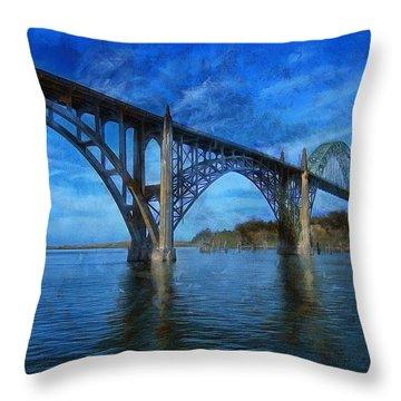 Yaquina Bay Bridge From South Beach Throw Pillow