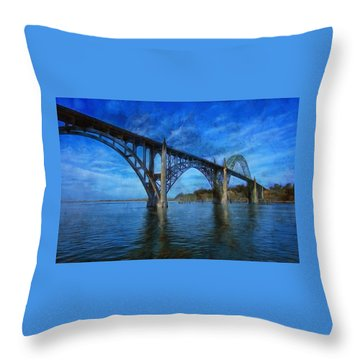 Yaquina Bay Bridge From South Beach Throw Pillow
