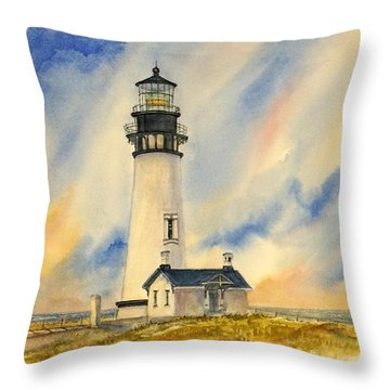 Yaquina Head - Late Afternoon Sunlight Throw Pillow