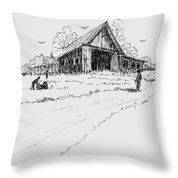 Yard-work On The Farm Throw Pillow