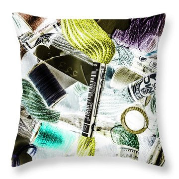 Yarns And Spindles  Throw Pillow