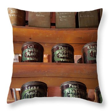 Ye Olde Time Pharmaceuticals Throw Pillow