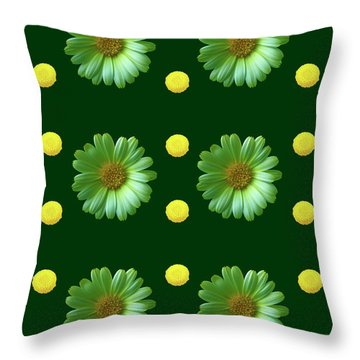 Throw Pillow featuring the photograph Yellow And Green Flowers Design by Johanna Hurmerinta
