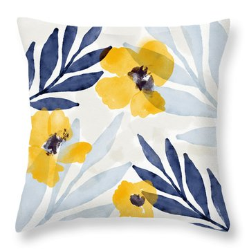 Yellow And Navy 1- Floral Art By Linda Woods Throw Pillow