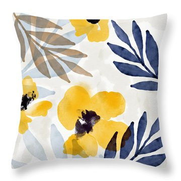 Yellow And Navy 3- Floral Art By Linda Woods Throw Pillow