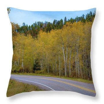 Yellow Aspens Throw Pillow