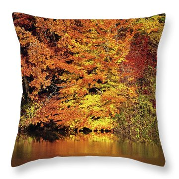 Throw Pillow featuring the photograph Yellow Autumn Leaves by Mike Murdock