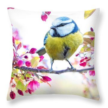 Yellow Blue Bird With Flowers Throw Pillow
