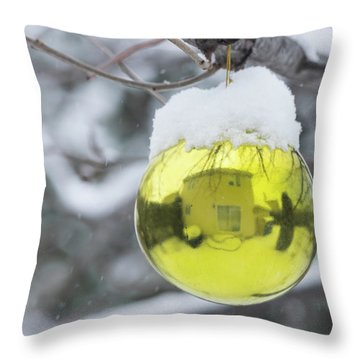 Throw Pillow featuring the photograph Yellow Christmas Ball Outside, Covered By Snow And House Reflect by Cristina Stefan