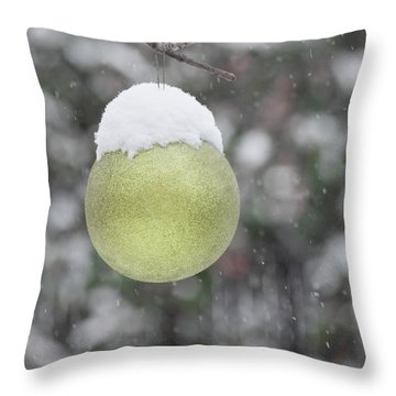 Throw Pillow featuring the photograph Yellow Christmas Ball Outside, Covered By Snow. Outside Snowy Wi by Cristina Stefan