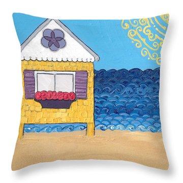 Yellow Cottage On The Beach Throw Pillow