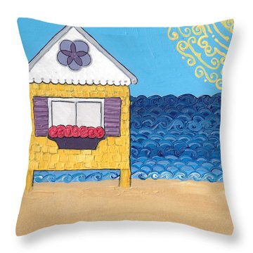 Yellow Cottage On The Beach Throw Pillow