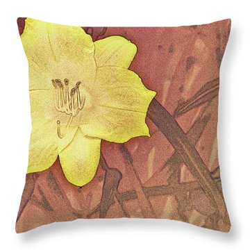 Yellow Day Lily Stencil On Sandstone Throw Pillow