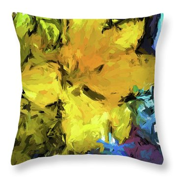 Yellow Flower And The Eggplant Floor Throw Pillow