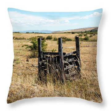 Yellow Grass And Fence Anchor Throw Pillow