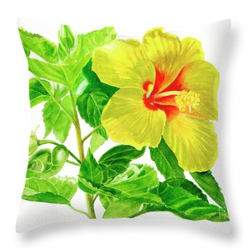 Yellow Hibiscus Flower Throw Pillow