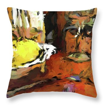 Yellow Lemon And The Wine Glass Throw Pillow