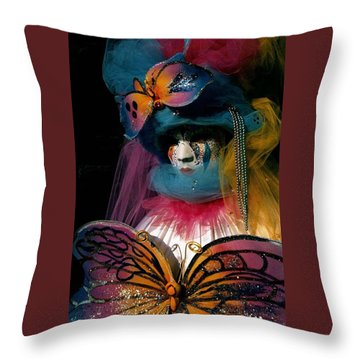 Throw Pillow featuring the photograph Yellow Pink Blue Butterfly by Donna Corless