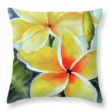 Yellow Plumeria Throw Pillow