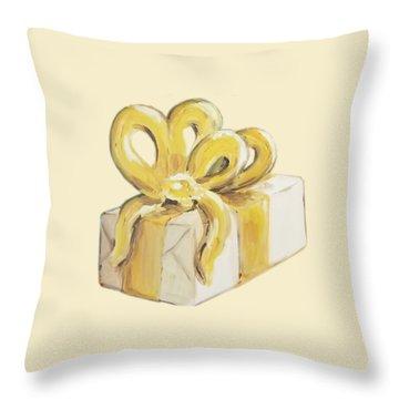Yellow Present Throw Pillow