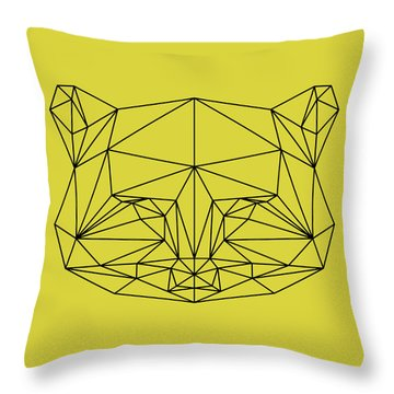 Yellow Raccoon Polygon Throw Pillow