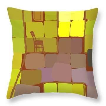 Throw Pillow featuring the digital art Yellow Room by Attila Meszlenyi