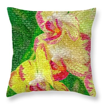 Yellow/rouge Orchids Throw Pillow