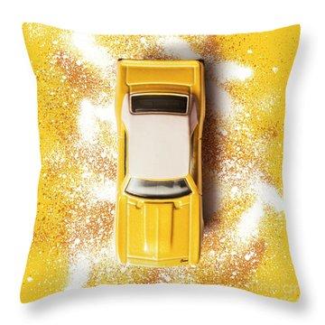 Yellow Street Machine Throw Pillow