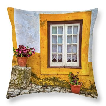 Yellow Window Of Obidos Throw Pillow
