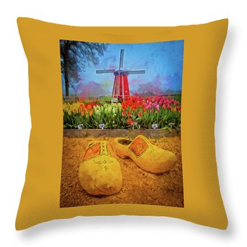 Yellow Wooden Shoes Throw Pillow