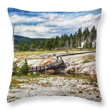 Throw Pillow featuring the photograph Yellowstone Trails In The Geyeser Basin by Tatiana Travelways