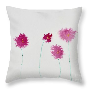 Throw Pillow featuring the painting Yesterday's Petals by Kim Nelson