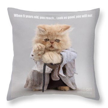 Throw Pillow featuring the photograph Yoda Cat by Warren Photographic
