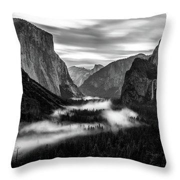 Yosemite Fog 1 Throw Pillow
