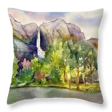 Yosemite Waterfalls Throw Pillow