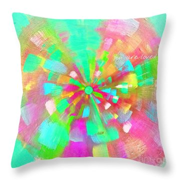 Throw Pillow featuring the mixed media  You Are Loved by Jessica Eli
