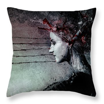 Waiting Girl Throw Pillows