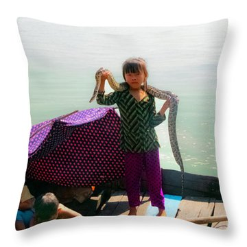 Young Girl With Snake , Cambodia Throw Pillow