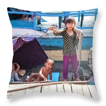 Young Girl With Snake 1, Cambodia Throw Pillow