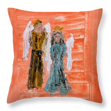 Young Love Angels Throw Pillow