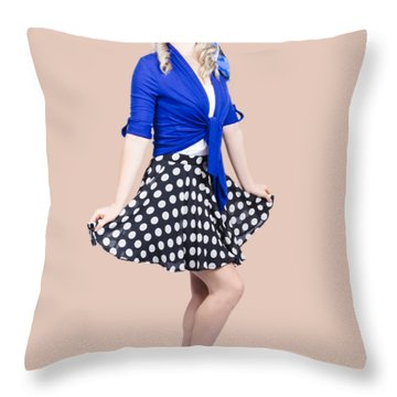 Young Stylish Pinup Woman Posing For Photo Throw Pillow