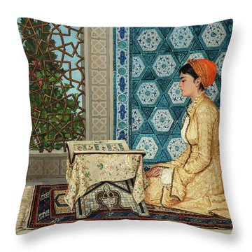 Young Woman Reading Throw Pillow