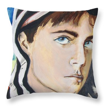 Throw Pillow featuring the painting Youth And Zebra Stripes by Rene Capone