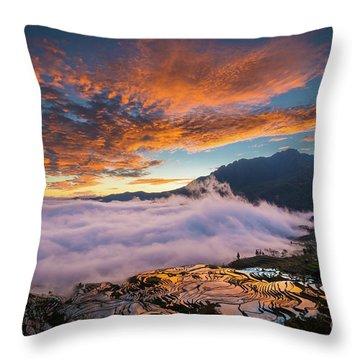Yuanyang Sunrise Throw Pillow