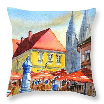 Zagreb Near Dolce Market Throw Pillow