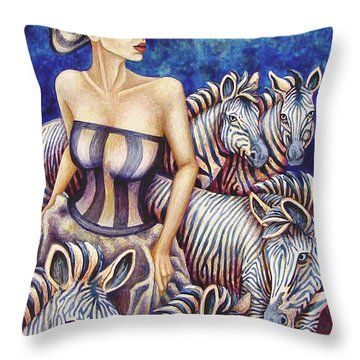 Zebra Moon Throw Pillow