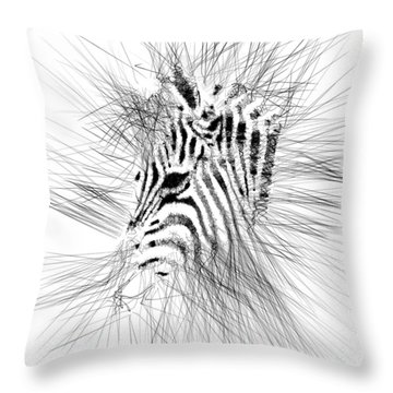 Throw Pillow featuring the digital art Zebrart by ISAW Company