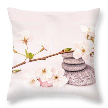 Zen Cherry Blossom Throw Pillow