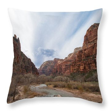 Zion National Park And Virgin River Throw Pillow