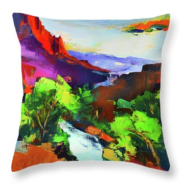 Zion - The Watchman And The Virgin River Throw Pillow